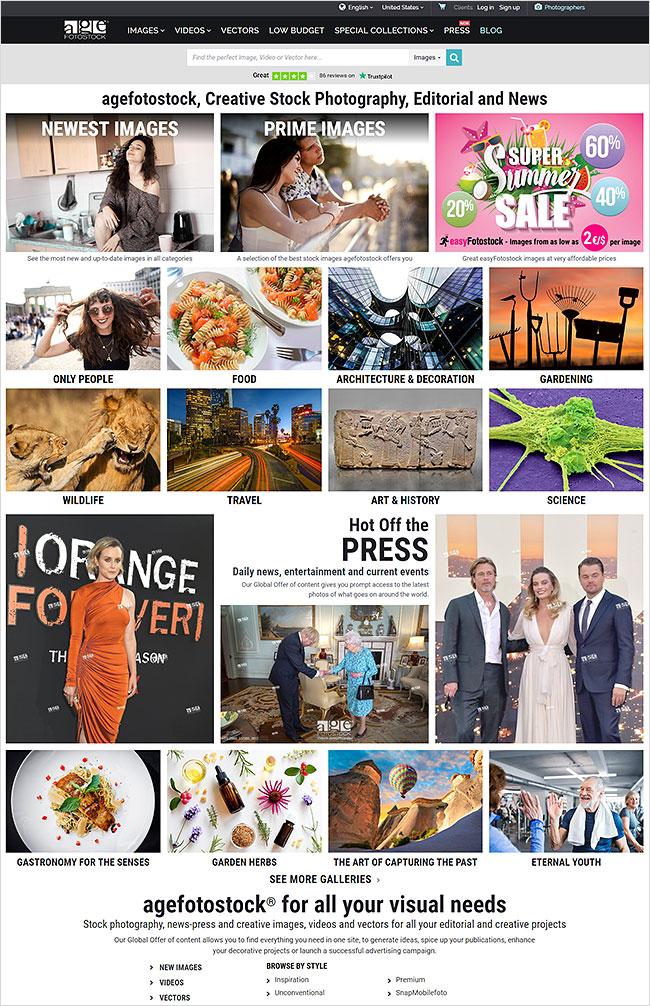 New Homepage www.agefotostock.com