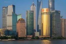 Office buildings in the financial center along the Huangpu River, Shanghai, China