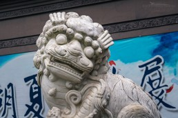 Stone carved lion at the entrance of the Qianwang Temple Monastery, West Lake Scenic Area, Hangzhou, China