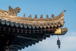 Imperial Roof Charm Decorations on the Daci'en Temple at the Giant Wild Goose Pagoda, a UNESCO World Heritage Site, Xi'an, China