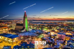 Hallgrimskirkja Church, colorful lights during The Winter lights Festival, Reykjavik, Iceland