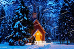 Yosemite chapel in winter, Yosemite National Park, California USA