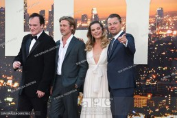Quentin Tarantino, Brad Pitt, Margot Robbie, Leonardo DiCaprio. Once Upon A Time In Hollywood Los Angeles Premiere