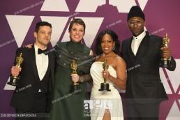 Oscars 2019 - Rami Malek, Olivia Coleman, Regina King, Mahershala Ali in the Press Room during the 91st Academy Awards